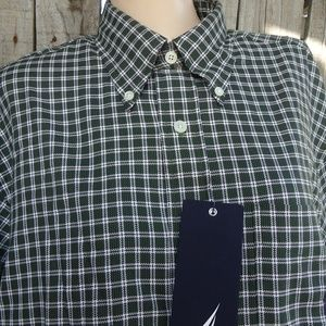 Nautica Green White Check Button Up Oxford Shirt M